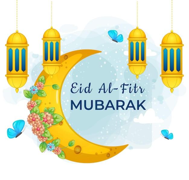 Texto de saudação bonito do doodle eid al fitr mubarak