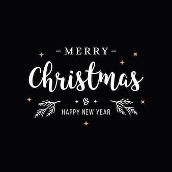 Texto de saudação de feliz natal, letras de fundo preto