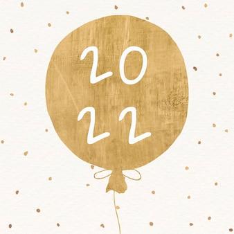 Texto de saudações da temporada estética de feliz ano novo balão dourado 2022 em vetor de fundo preto