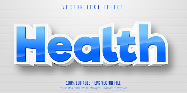 Texto de saúde, efeito de texto editável em estilo desenho animado