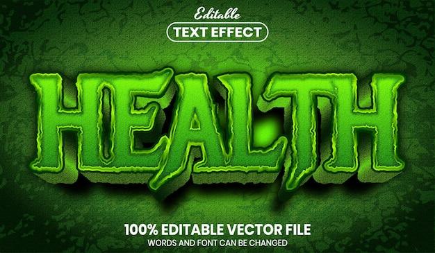 Texto de saúde, efeito de texto editável