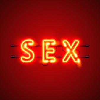 Texto de sexo de banner de néon sobre o fundo vermelho. ilustração vetorial