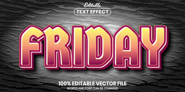 Texto de sexta-feira, efeito de texto editável de estilo de fonte