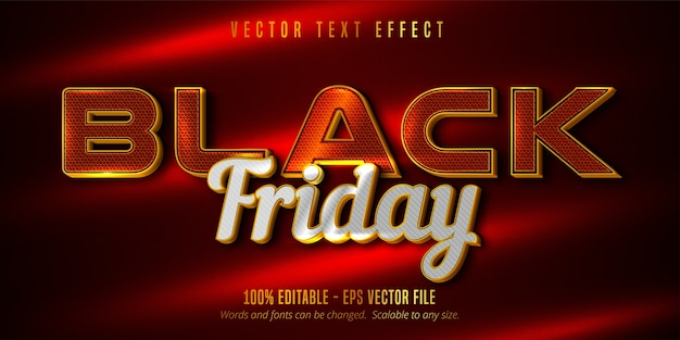 Texto de sexta-feira em preto, efeito de texto editável luxuoso estilo dourado e prata em plano de fundo texturizado de cor vermelha