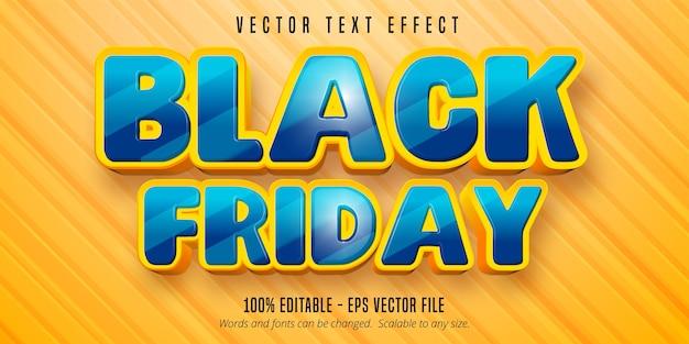 Texto de sexta-feira em preto, efeito de texto editável no estilo desenho animado Vetor Premium
