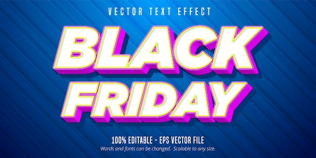 Texto de sexta-feira em preto, efeito de texto editável no estilo desenho animado