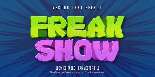 Texto de show de horrores, efeito de texto editável de estilo cômico