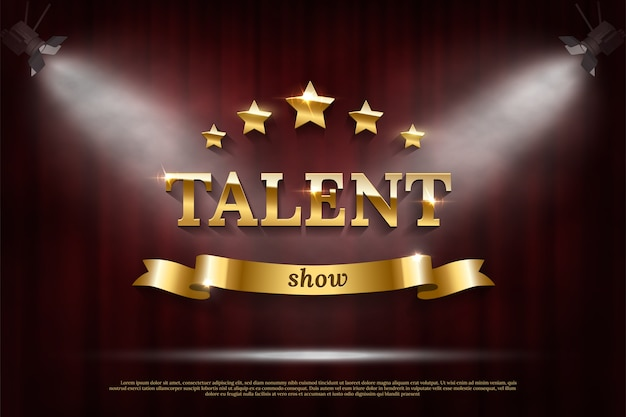 Texto de show de talentos dourado com fita sobre cortina vermelha sob holofotes.