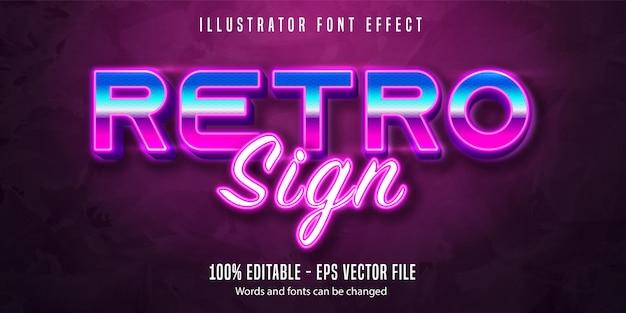 Texto de sinal retrô, efeito de texto editável de estilo neon