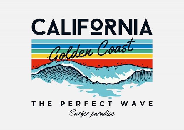 Texto de slogan de tipografia de praia da califórnia com ilustrações de ondas.