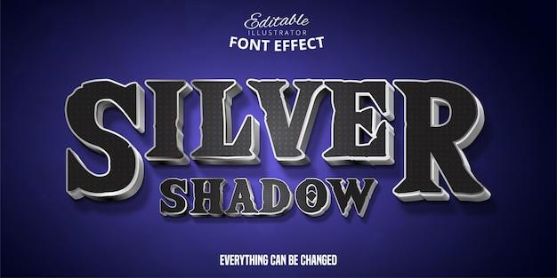 Texto de sombra prata, efeito de fonte editável em 3d