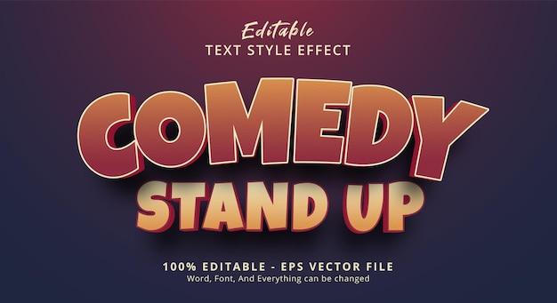 Texto de stand up comedy com estilo de cores exageradas e efeito de texto editável