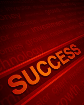 Texto de sucesso 3d em perspectiva com palavras