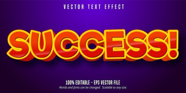 Texto de sucesso, efeito de texto editável de estilo cômico