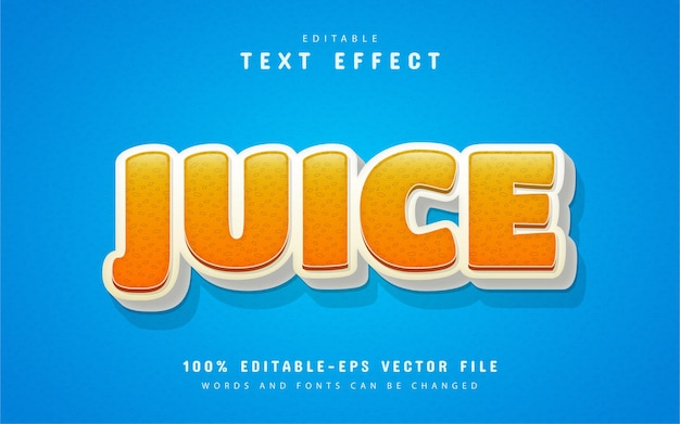 Texto de suco, efeito de texto de estilo desenho animado