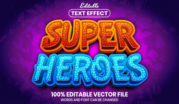 Texto de super-heróis, efeito de texto editável de estilo de fonte