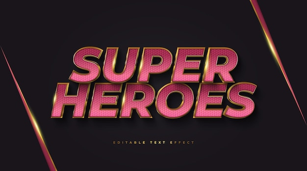Texto de super-heróis em vermelho e dourado com efeito 3d em relevo. efeito de estilo de texto editável Vetor Premium