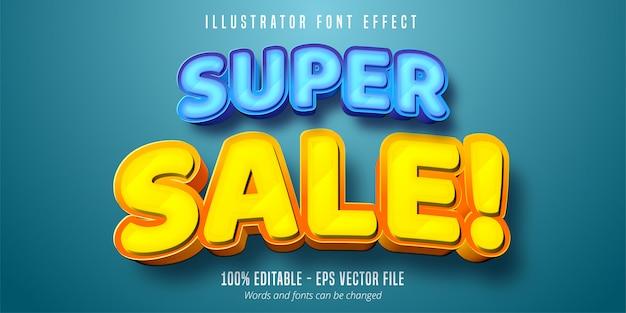 Texto de super venda, efeito de fonte editável em 3d