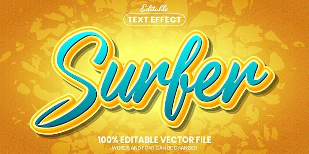 Texto de surfista, efeito de texto editável de estilo de fonte