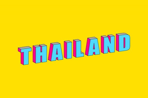 Texto de tailândia com efeito isométrico 3d