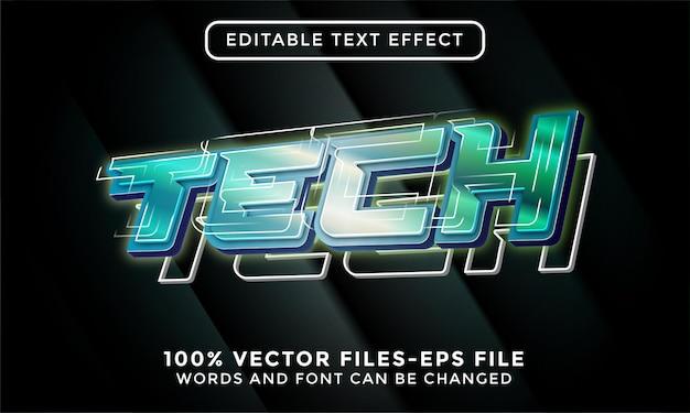 Texto de tecnologia 3d. vetor premium de efeito de texto editável