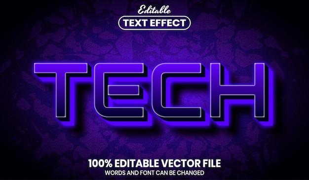 Texto de tecnologia, efeito de texto editável de estilo de fonte