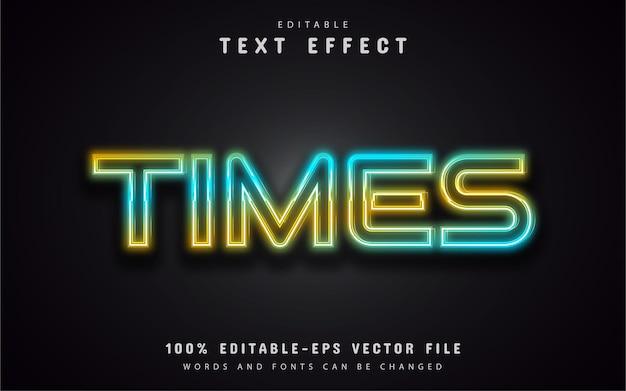 Texto de tempo, efeito de texto em néon colorido