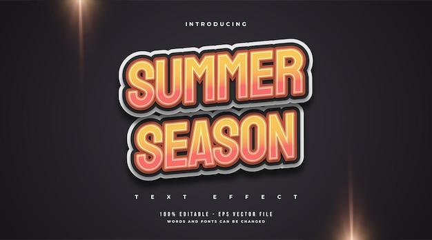Texto de temporada de verão com estilo de desenho animado em gradiente laranja. efeito de estilo de texto editável