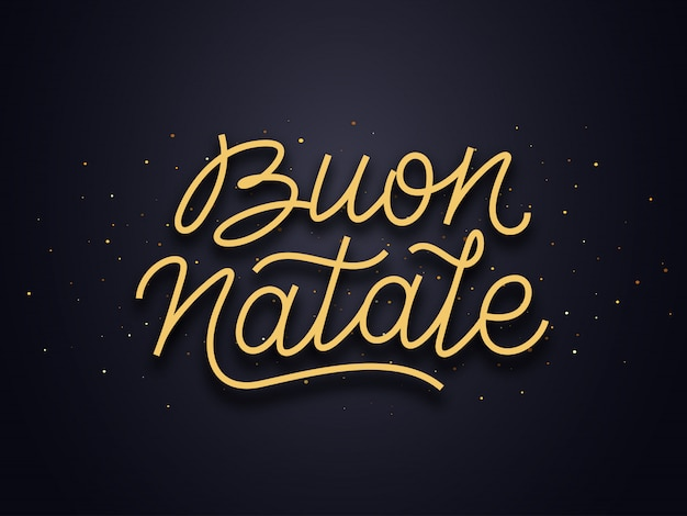 Texto de tipografia de buon natale. cartão de vetor de natal