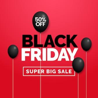 Texto de tipografia sexta-feira negra com decoração de balão preto escuro em veludo vermelho