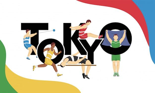 Texto de tóquio com esportistas sem rosto em estilo diferente, jogos olímpicos de 2020.