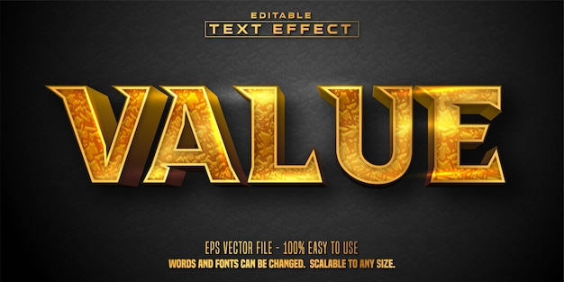 Texto de valor, efeito de texto editável estilo dourado