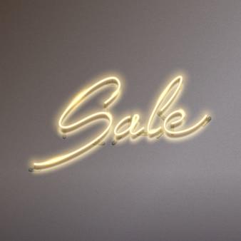 Texto de venda brilhante sinal de néon