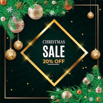 Texto de venda de natal para promoção com um modelo de plano de fundo de folhas e decorações de natal