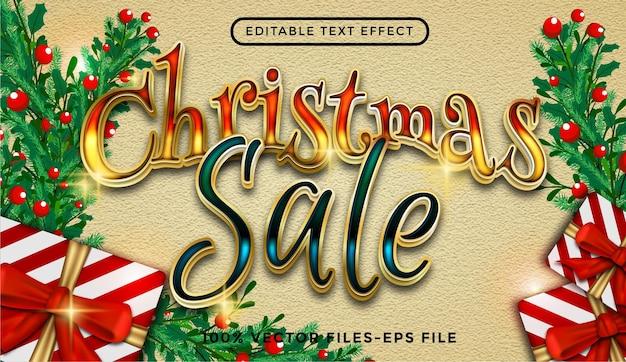 Texto de venda de natal. vetores premium de efeitos de texto editáveis