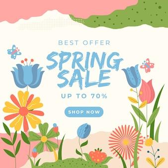 Texto de venda de primavera de design plano