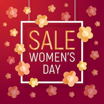 Texto de venda de quadro branco de dia feminino em fundo vermelho