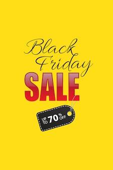 Texto de venda de sexta-feira negra com etiqueta de desconto preta em fundo amarelo