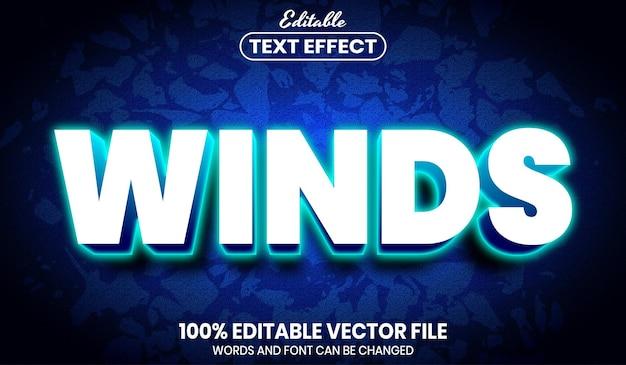 Texto de vento, efeito de texto editável de estilo de fonte