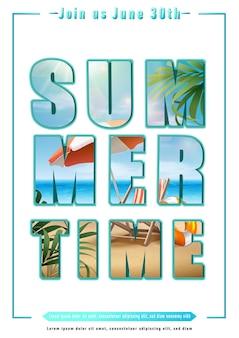 Texto de verão com letras grandes e ilustração de praia
