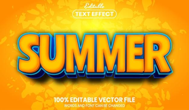 Texto de verão, efeito de texto editável de estilo de fonte