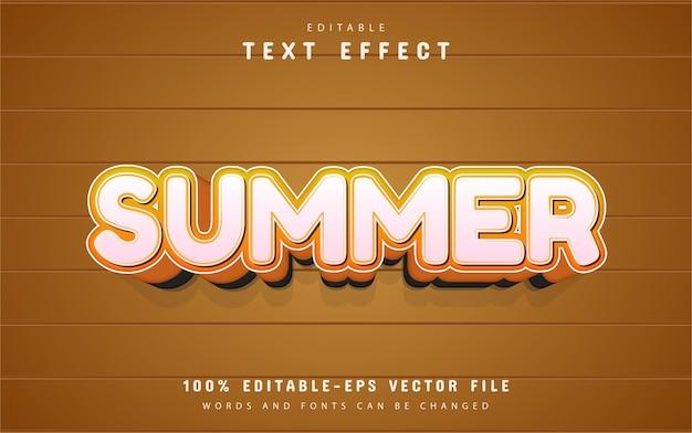 Texto de verão, efeito de texto estilo desenho animado laranja