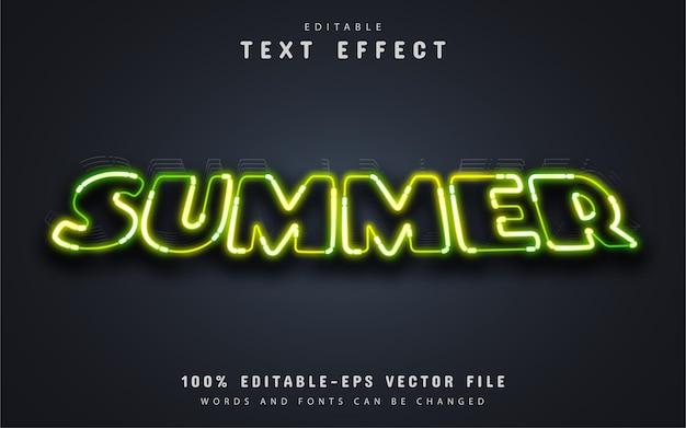 Texto de verão, efeito de texto neon verde