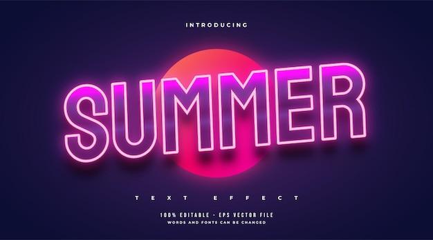 Texto de verão em estilo retro e efeito de néon brilhante. efeito de texto editável