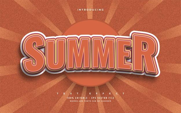 Texto de verão em negrito laranja com estilo vintage. efeitos de estilo de texto editáveis