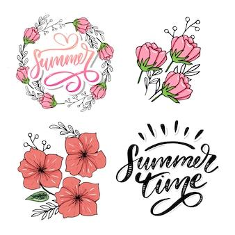 Texto de vetor de horário de verão letras letras caligrafia e flores ilustração isolado