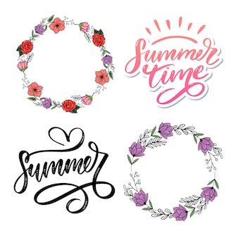 Texto de vetor de horário de verão letras letras de caligrafia e quadros florais