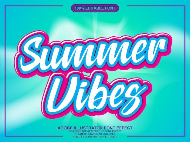 Texto de vibes de verão com efeito de fonte moderno na moda