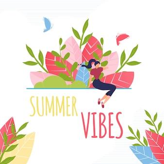 Texto de vibrações de verão e composição de mulher descansando.