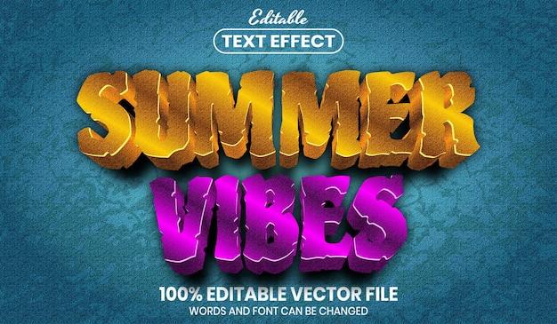 Texto de vibrações de verão, efeito de texto editável de estilo de fonte
